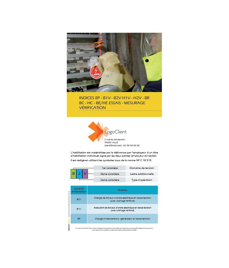 Dépliants Habilitation électrique BT HT personnalisés - Lot de 100